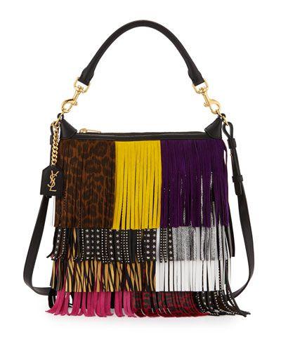Yves Saint Laurent Emmanuelle Small Leather Fringe Hobo Bag, Black ...