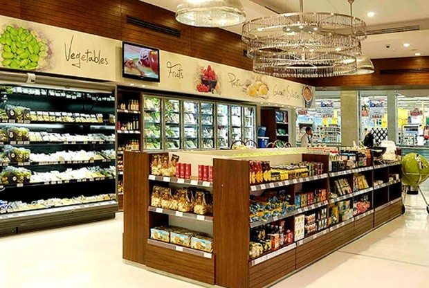 U shaped retail grocery store interior design of gourmet for Retail store interior design