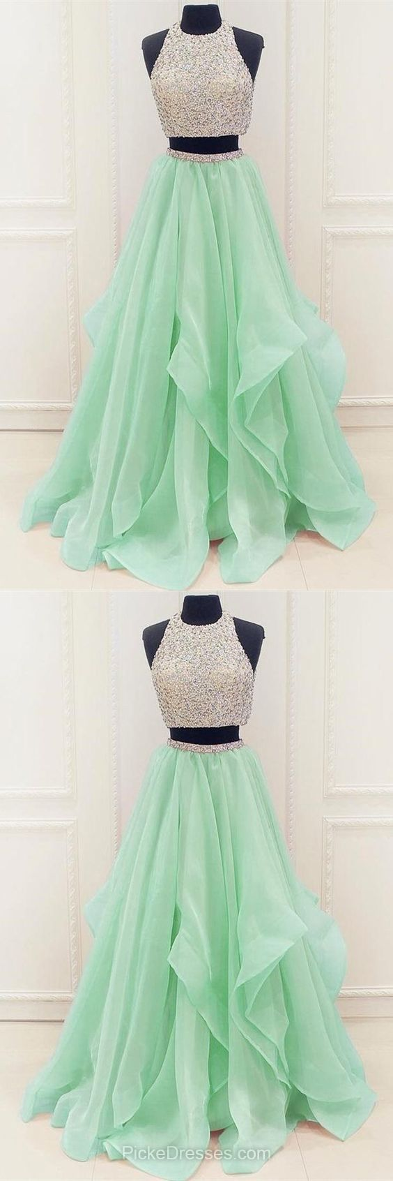 Two Piece Prom Dresses Green, Princess Party Dresses Modest, Scoop Neck Organza Long Formal Dresses Beading Fabulous