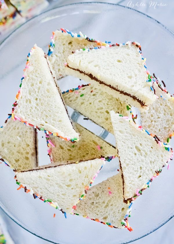 instead of crusts these sandwiches have sprinkles!
