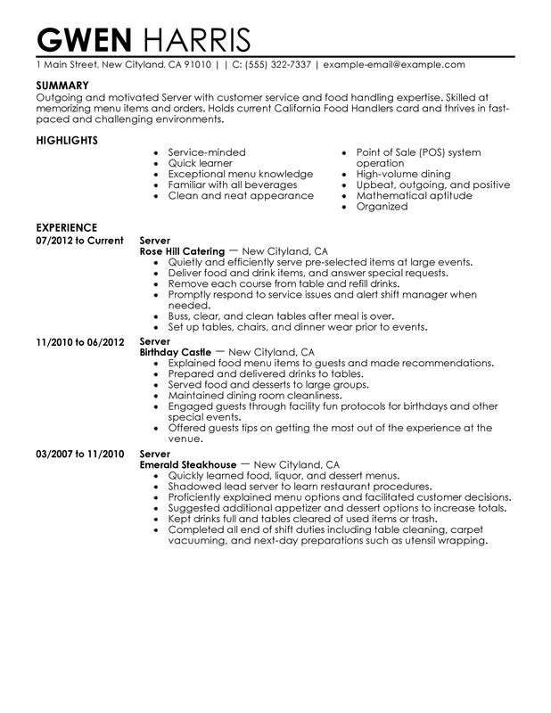 Servers Resume Example.For Servers Sample Resume Server Resume Resume Examples