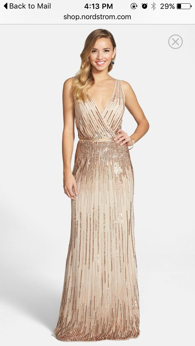 Adrianna Papell Beaded surplice gown champagne , Size: 14 | Bridesmaid Dresses
