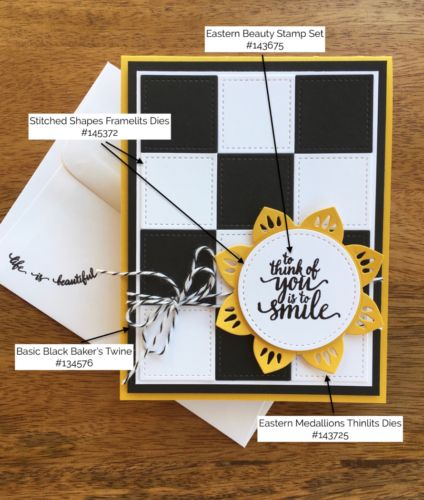 Eastern Medallions Thinlits Dies & Eastern Beauty Stamp Set card created by Mary Fish, Stampin' Up! Demonstrator.  1000+ StampinUp & SUO card ideas.  Read more https://stampinpretty.com/2017/05/checkerboard-sunshine-card-idea.html