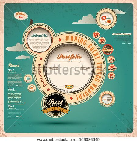 Web design Vintage. Ilustração Vetorizada.