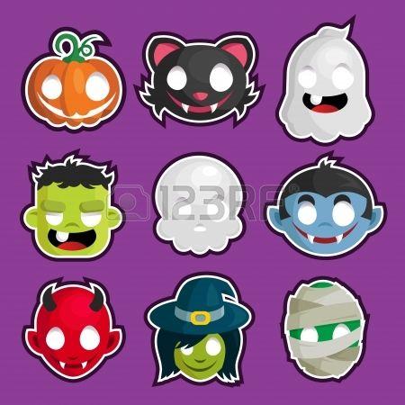 set of Halloween head cartoon stickers