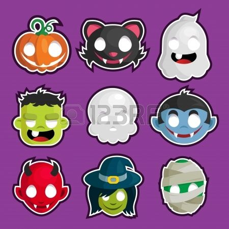 set of Halloween head cartoon stickers