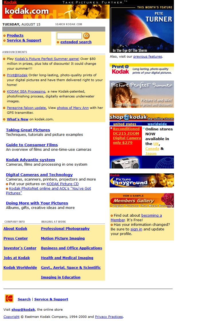 Kodak website in 2000