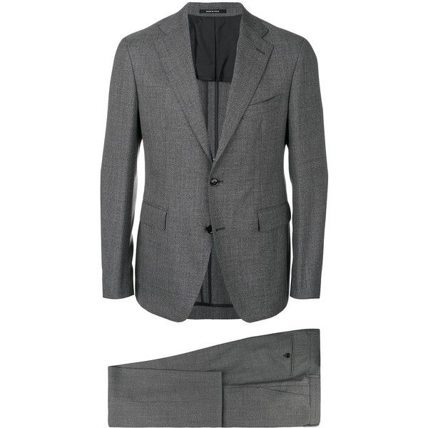 Tagliatore formal two-piece suit (740,255 KRW) ❤ liked on Polyvore featuring men's fashion, men's clothing, men's suits, grey, mens two piece suits, mens gray suit, men's 2 piece suits, mens grey suits and mens formal suits