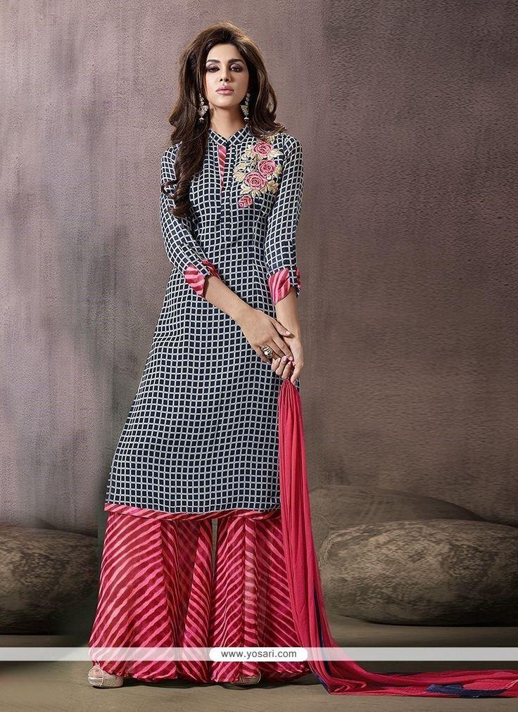 Extraordinary Georgette Print Work Designer Palazzo Salwar Kameez Model: YOS7118