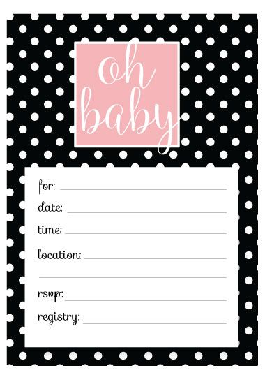 Free Baby Shower Invitation Templates - Printable and fill-in baby shower cards