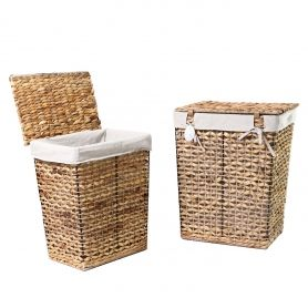 Adeco Multi-Purpose Laundry Basket with Lid, Seagrass and Iron Construction Home Decor, Set of 2