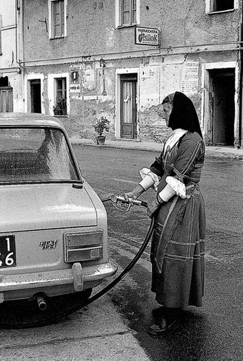 Mario De Biasi - Sardegna, Desulo. La benzinaia Giuseppa Floris, 1974