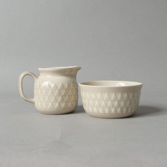 vintage sugar bowl creamer stavangerflint norway retro beige stoneware art pottery
