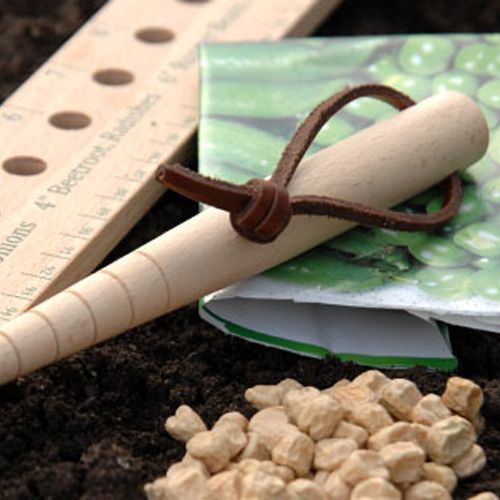 "Garden Dibblet | Child's Garden Tools | Ideal for planting seeds and small seedlings with great accuracy. Hand turned FSC beech wood with .5"" graduations. Helps Gardners and their helpers not to plant seeds too deeply."