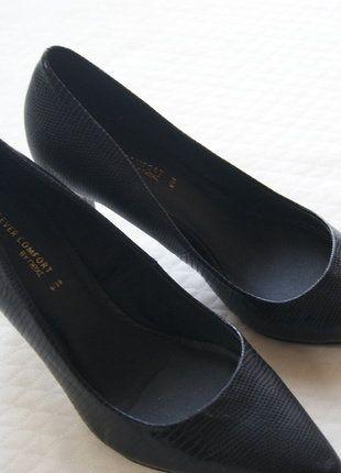 Kup mój przedmiot na #vintedpl http://www.vinted.pl/damskie-obuwie/na-wysokim-obcasie/16023374-pantofelki-czarne-wzor-skory-plaza-basic