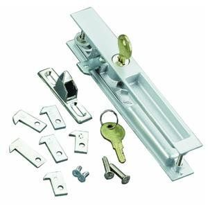 Wright Products-Hampton VK1195 Patio Door Hardware Set With Key Locking Unit by Wright. $14.69. VK1195 ALUM FLSH PATIODOOR LCK. ALUM FLUSH PATIO DOOR LOCKSET. Flush mounted. Fits into a machined pocket in the door stile. Projection is only 1/16'' on inside and outside of patio door. Packed with 7 different latch hooks to fit virtually all applications. Replaces most sets of this style and is reversible for right or left hand application. Exterior has key lock for extr...