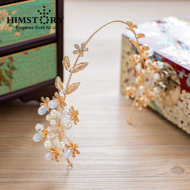 HIMSTORY Gouden Bladeren Barokke Bridal Tiara Zonnebloem Parel Kroon Hoofdbanden bruiloft haaraccessoires Bruids Hoofddeksel Hairwear