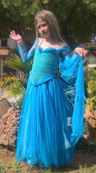 Crochet-tutu Elsa costume #DIY #handmade #Halloween #costume  #princess #Elsa #Crochet #tutu
