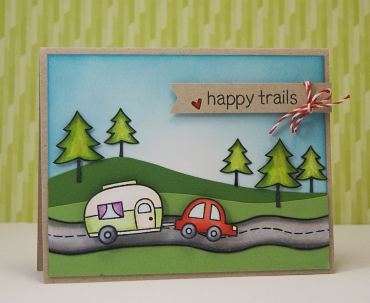 Lawn Fawn - card using the new Happy Trails clear stamp set