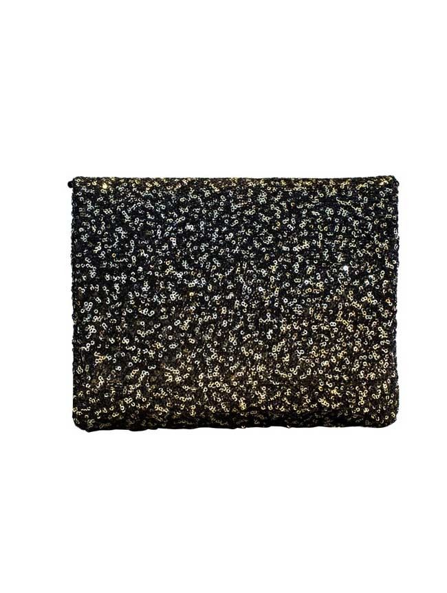 Glitterati - Gold/Black Sequined Square Clutch