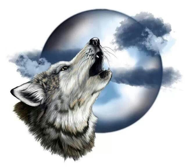 Wolf Howling At The Moon Tattoo Designs