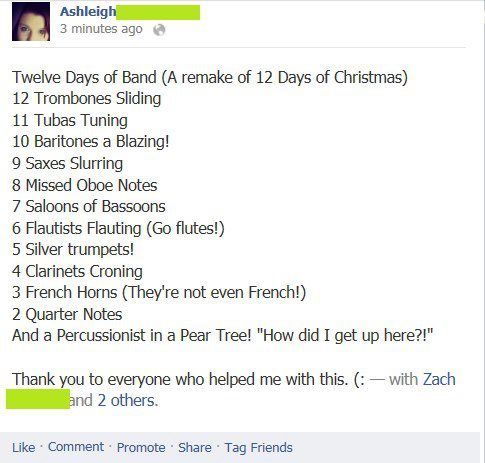 The Twelve Days of Marching Band...