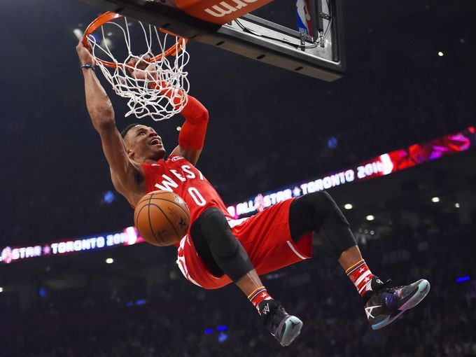 Western Conference guard Russell Westbrook dunks in