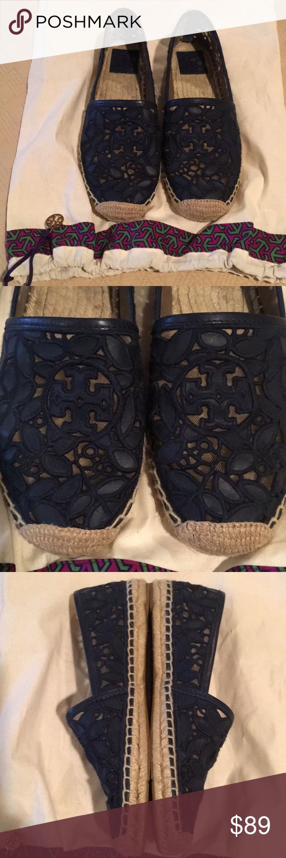 Tory Burch Navy Espadrilles Size 9.5 **worn once** These are beautiful Tory Burch Navy Espadrilles in a size 9.5. I only got to wear them once since I got them so they need to find a better home. They come with a dust bag. Tory Burch Shoes Espadrilles