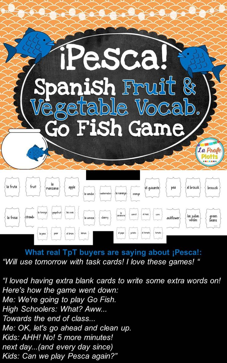 Spanish Fruits & Vegetables Vocabulary ¡pesca! (go Fish) Game