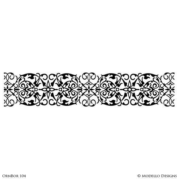 Room Makeover with Painted Wall Border Decor - Modello Custom Stencils