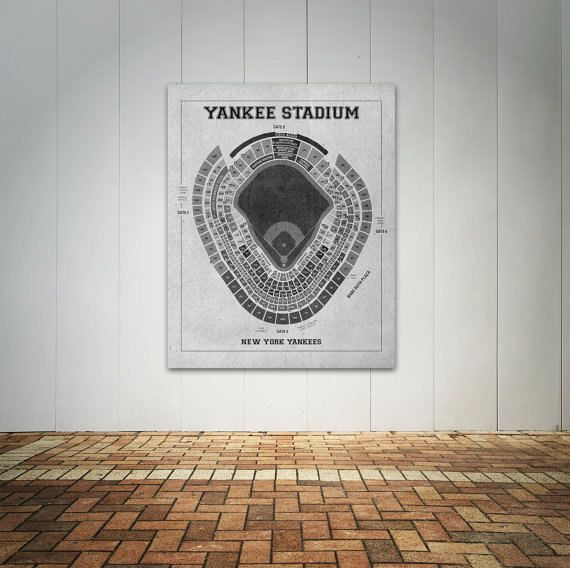 Print of Vintage Yankee Stadium Seating Chart on Photo Paper