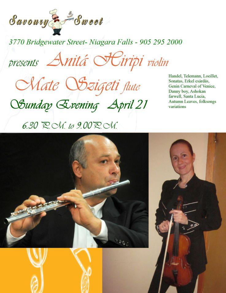 concert at Savoury and Sweet Restaurant 3770 Bridgewater Street Niagara Falls