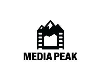 Media Peak Logo design - Logo design of a film with mountains on top.  Price $299.00