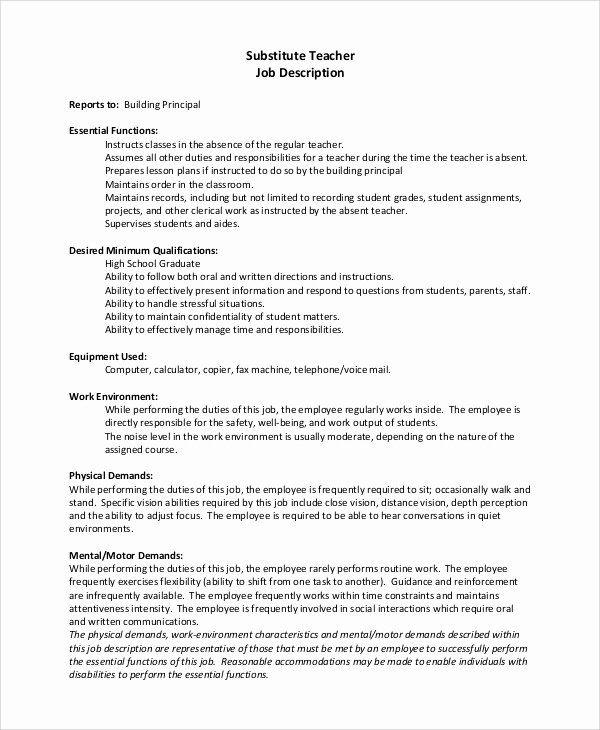 Substitute Teacher Resume Description Unique Sample Substitute Teacher Job Description 8 Examples I In 2020 Jobs For Teachers Teacher Aide Jobs Teacher Resume Examples