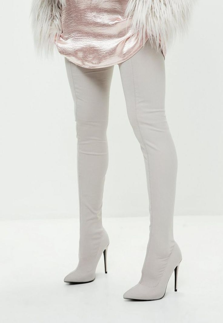Grey Pointed Stretch Thigh High Boots