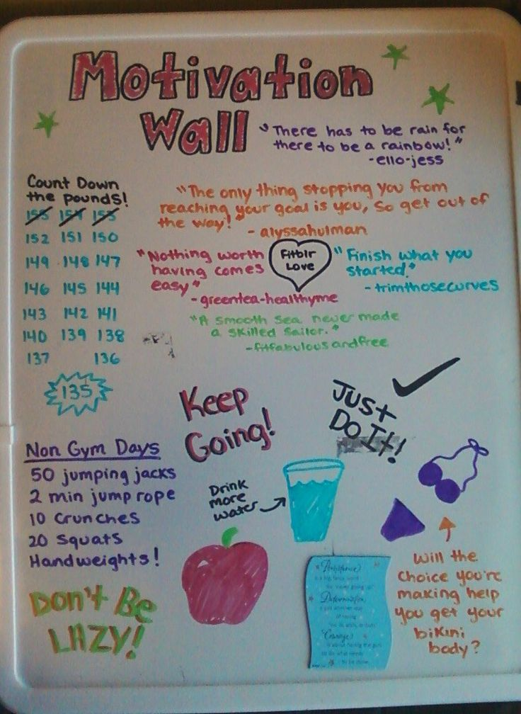 "Make a motivation wall in your college dorm room to help keep you focused on your goals! I like this idea but for working out and/or practicing, not so much for the ""you must lose weight"" bullshit. #beautyatanysize"