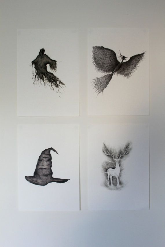 These are prints from my original work of Harry Potter illustrations - Soring Hat, Phoenix, Dementor and Patronus. Printed on A4 high quality