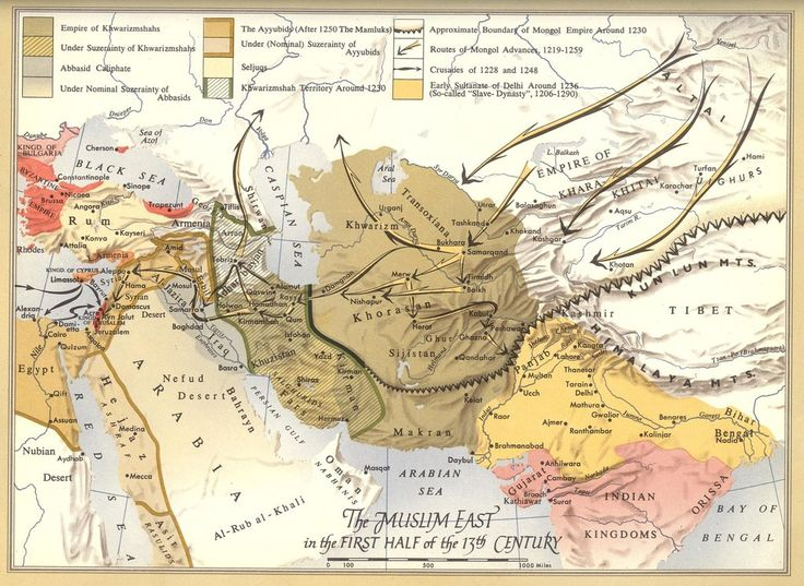 The Mongol onslaught on the Muslim world, early 1200's, under Chingiz Khan [2,130 x 1,555] CLICK HERE FOR MORE MAPS! thelandofmaps.tumblr.com