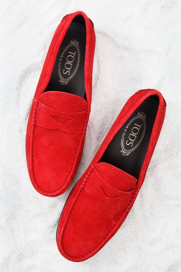 dsTod's    Tip: Perhaps the original proprietor of hued-out luxury, the famous cobblers at Tod's have been dying their suede long before this season. Best paired with a red Ferrari, go-to-hell trousers, and Tuscan countryside.    Loafer in red suede ($595) by Tod's, available at Tod's boutiques nationwide, 800-457-8637.