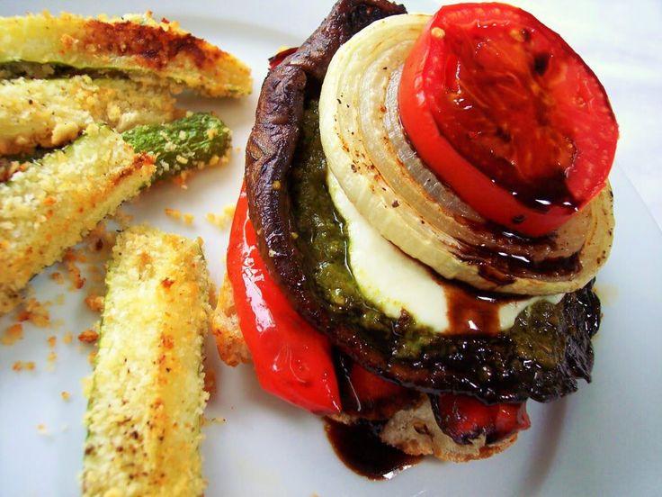 "PROUD ITALIAN COOK: Open Faced Portobello Burger with Zucchini ""Fries"": Fun Recipes, Open Faces, Italian Food, Italian Cooking, Yummy Food, Portobello Burgers, Faces Portobello, Zucchini Fries, Favorite Recipes"