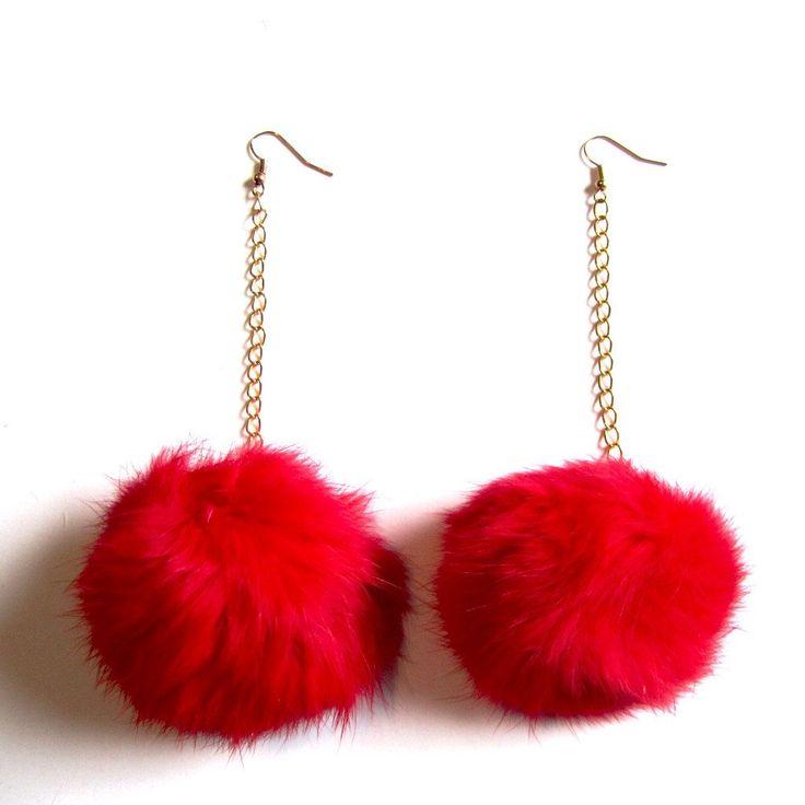 Fluffy Red Pom Pom Ball Chain Drop Earrings
