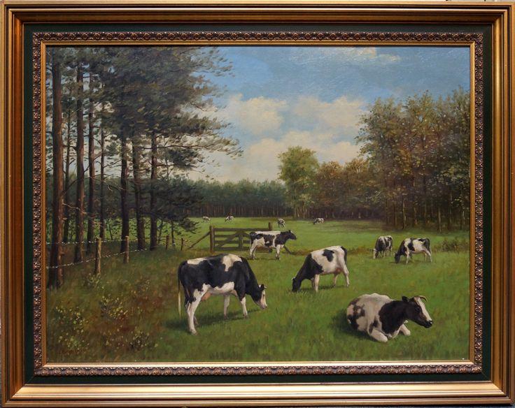 Jan Kelderman (1914-1990), l.o. gesigneerd, olieverf op doek, koeien in de wei, 60 x 80 cm.