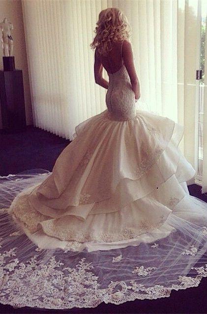 Fairy Open Back Lace Mermaid Wedding Dress With Ruffles