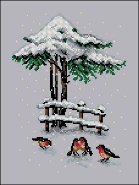 Christmas cross stitch, birds
