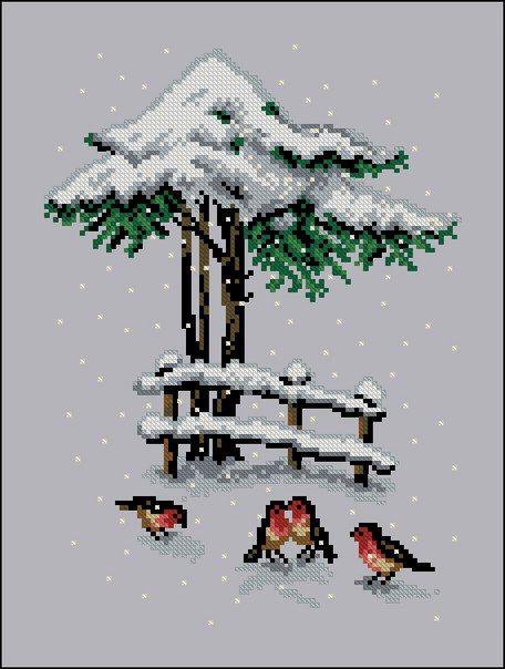 Christmas cross stitch, birds