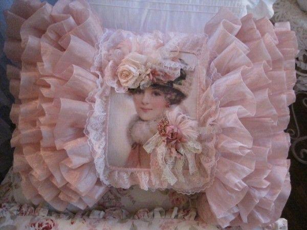 lovely pink ruffled pillow!