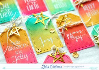 Ombre Watercolor Tags by Betsy Veldman for Papertrey Ink (November 2014)