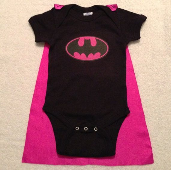 Superhero onesie or tshirt with matching cape (marvel comics inspired) Pink Batman on Etsy, $25.00
