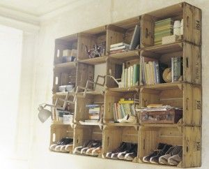 Old crate bookshelves