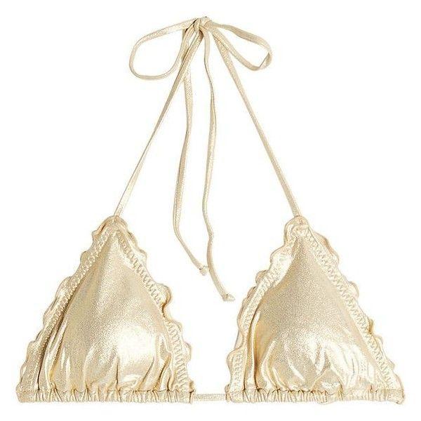Luli Fama Self-Tie Triangle Bikini Top ❤ liked on Polyvore featuring swimwear, bikinis, bikini tops, summer swimwear, swim tops, triangle swimsuit top, swim suit tops and luli fama swimwear